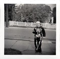 Vintage Halloween Photograph ~ Child Dressed as a Skeleton * Circa, 1950's-60's