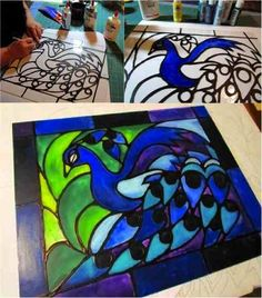 DIY Easy Faux Stained Glass using just acrylic paint and glue!