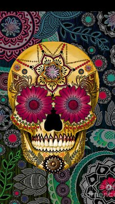 This unique and unusual sugar skull artwork features vibrant red and green tones. the pasley skull art is by skull artist Christopher Beikmann Candy Skulls, Sugar Skulls, Sugar Skull Artwork, Sugar Skull Painting, Mexican Skulls, Mexican Folk Art, La Muerte Tattoo, Los Muertos Tattoo, Sugar Skull Face