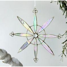 Snowflake Pinwheel Stained Glass Suncatcher