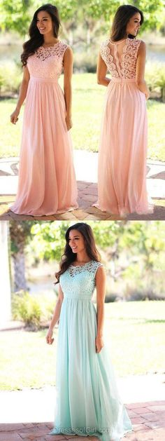 Affordable A-line Scoop Neck Lace Chiffon Floor-length Prom Dress