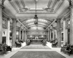 "June 1909. Toledo, Ohio. ""The lobby, Hotel Secor."" This empty-looking time exposure was in fact crowded with spectral hotel guests."