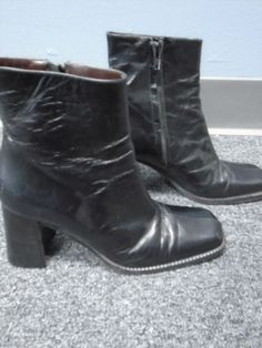 89.16$  Buy now - http://vikjb.justgood.pw/vig/item.php?t=nyidsc19333 - TOMBOLINI Black Leather Solid Square Block Heels Ankle Boots 36.5 B3848