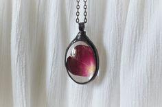 rose petal necklace terrarium necklace romantic by ZokaKurylov