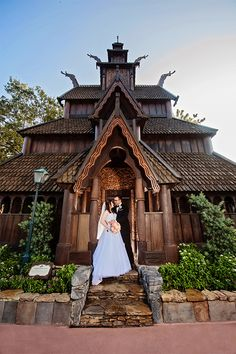 Walt Disney World bride and groom wedding portrait in the Norway Pavilion in Epcot. Photo: Pedro, Disney Fine Art Photography