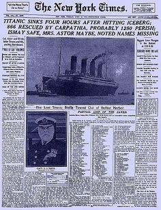 Titanic Newspaper Articles | Titanic Newspaper Article: New York Times