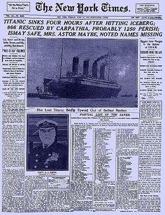 Titanic Newspaper Articles   Titanic Newspaper Article: New York Times