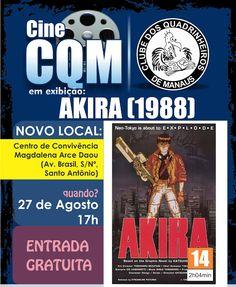 """Banner de divulgação da mostra gratuita de vídeos Cine CQM, desta vez apresentando o longa metragem """"Akira"""" de 1988."""