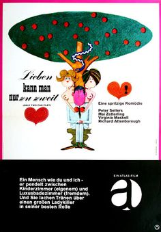 "Kortmann, artwork for Film Poster ""Lieben kann man nur zu zweit"", Only Two can play, 1963. Atlas film"