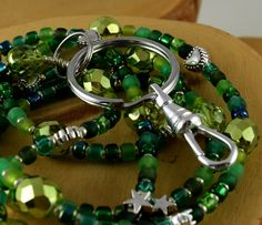 Back To School Electric Emerald handcrafted beaded by OklahomaMama