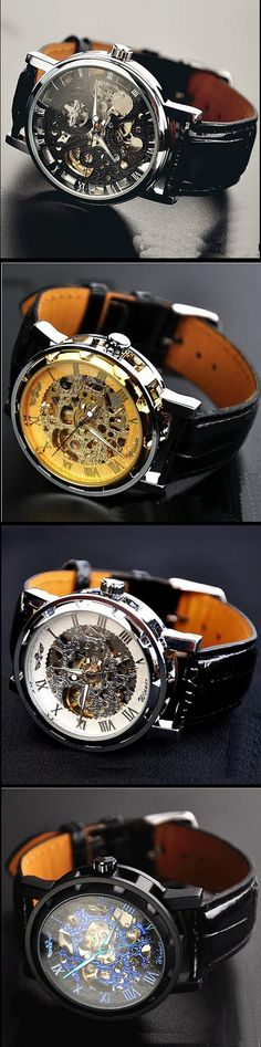 Mens Watch / Vintage Style Watch / Handmade Watch / Leather Band Watch / Chain Hollow Out Mechanical Watch (WAT0041-Black)