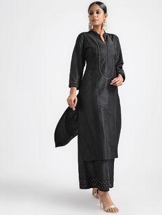 Black Pleated Chanderi Silk Kurta with Sequin Work Simple Kurta Designs, Silk Kurti Designs, Churidar Designs, Kurta Designs Women, Neck Designs For Suits, Dress Neck Designs, Blouse Designs, Black Kurti, Black Salwar Suit