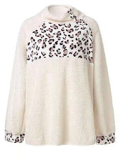 High Neck Patchwork Leopard Long Sleeve Plush Sweatshirts - Look Shop Stylish Hoodies, Plain Hoodies, Buy Dresses Online, Types Of Sleeves, Clothes For Women, Long Sleeve, Plush, Summer Fashions, Hoodie Sweatshirts