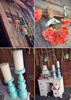 Pretty decorating ideas at this aqua / tangerine Colorado wedding
