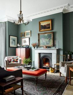 Living Room Green, Home Living Room, Farrow And Ball Living Room, Room Design, Interior, Living Room Paint, Home, Cheap Home Decor, Victorian Living Room