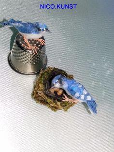 OOAK Dollhouse Miniature,2 Blue Jay birds with nests and eggs  ,1:12 NICO.KUNST #NICOKUNST