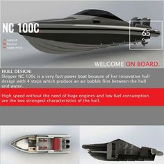 SKIPPER NC 100C  HULL DESIGN: Skipper NC 100c is a very fast power boat because of her innovative hull design with 4 steps which produce an air bubble film between the hull and water.  High speed without the need of huge engines and low fuel consumption are the two strongest characteristics of the hull.   contact: info@hst.gr https://www.charismerkatis.com/