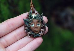 Forest Goddess Clay Gemstone Pendant Plant by TheSacredWild