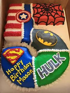 Super Hero Cake. I think super hero's would be perfect for Noah's next birthday :)