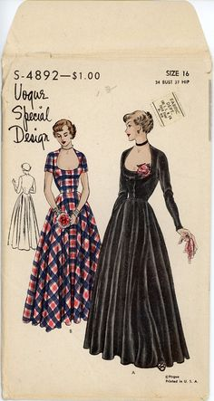 1940s Evening Dress Pattern Vogue Special Design by CynicalGirl, $135.00