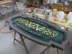 What A couple of Routerheads can do! Carved Wood Signs, Painted Signs, Wooden Signs, Wayfinding Signage, Signage Design, Channel Letter Signs, Sign System, How To Make Signs, 3d Cnc