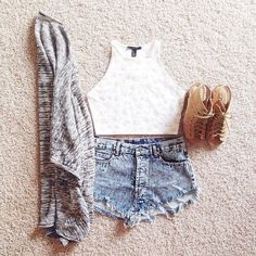 Shorts, crop top, cage wedges & shrug