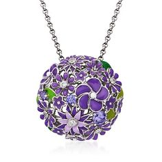 """Belle Etoile """"Jardin"""" 1.41 ct. t.w. Purple and Colorless CZ Pendant With Purple Enamel in Sterling Silver"""