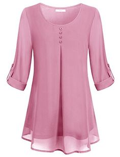 Buy Women's Roll-up Long Sleeve Round Neck Layered Chiffon Flowy Blouse Top . Buy Women's Roll-up Long Sleeve Round Neck Layered Chiffon Flowy Blouse Top - Pink - and shop more l Blouse Styles, Blouse Designs, Mode Hijab, Chiffon Tops, Flowy Tops, Chiffon Blouses, Long Tunic Tops, Dressy Tops, Chiffon Shirt