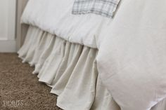 Gathered Bed Skirt made from a drop cloth or any fabric of choice. Time saving gathering technique included in tutorial. - by TIDBITS Bedding Master Bedroom, Bedroom Decor, Bedroom Ideas, Crib Skirt Tutorial, Bed Valance, Curtains, Bedroom Design On A Budget, Bed Organiser, Sewing Crafts