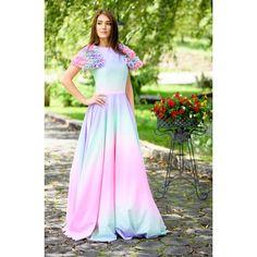rochie de ocazie cu volane, material print curcubeu, elastic, cloș, volane pe mâneci Skirts, Fashion, Moda, Fashion Styles, Skirt, Fashion Illustrations, Gowns, Skirt Outfits