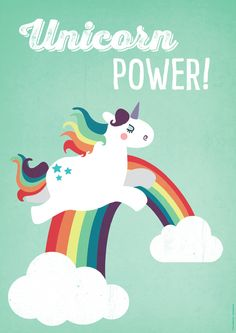 """2016/06/26 Digitaldruck - A2 Einhorn-Poster """"Unicorn Power"""" Kin... - ein Designerstück von kaeselotti bei DaWanda"""