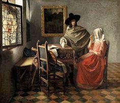 Dama bebiendo con un caballero. Johannes Vermeer. c. 1660. Gemäldegalerie de Berlín.