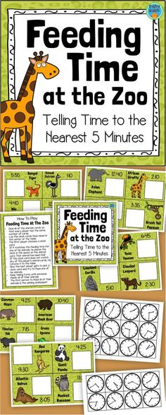 FUN game for telling time to the nearest 5 minutes!! Perfect for math centers.