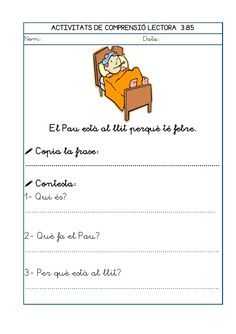 Dori dos 1112_mt005_r1_comprensio_lectora_3 Maila, Lectures, Exercise, Teaching, School, Texts, Reading Comprehension, Worksheets For Kids, Learning Activities