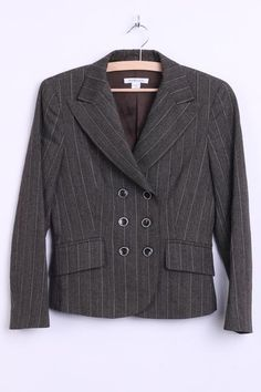 Marella Womens 8 XS Blazer Jacket Brown Striped Italy Double-Breasted - RetrospectClothes