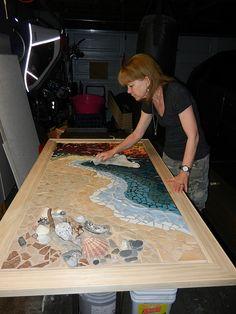 Wip drake s beach shoreline mosaic Mosaic Crafts, Mosaic Projects, Resin Crafts, Diy Projects, Diy Resin Table, Epoxy Table Top, Epoxy Countertop, Epoxy Resin Art, Resin Furniture