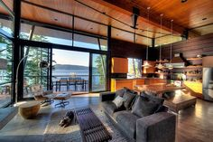 Cabin on a cliff overlooking Coeur D'Alene Lake- a modern log cabin on Coeur D'Alene Lake in North Idaho.