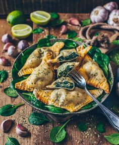 Vegan dumplings stuffed with spinach and cashew ricotta