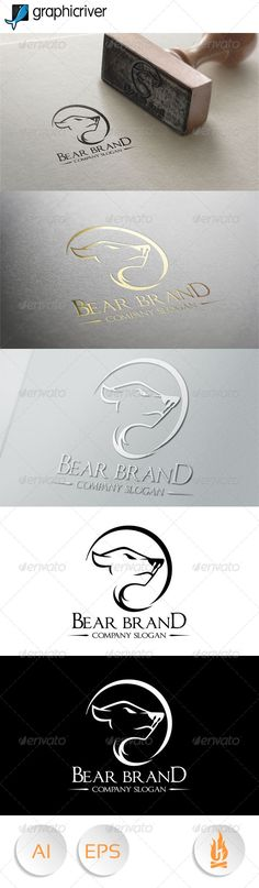 Buy Bear Brand by HZZL on GraphicRiver. A great and elegant logo Editable and resizeable vector logo, editable text and color CMYK Included AI and EPS The f. Logo Design Template, Logo Templates, Sports Day Poster, Web Design, Graphic Design, Creative Design, Bear Logo, Elegant Logo, Animal Logo