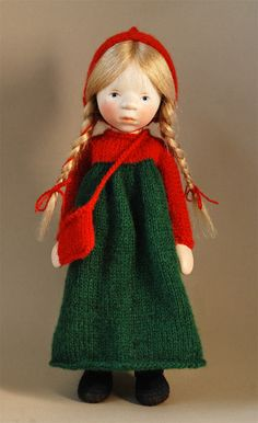Girl In Red And Green Knit H330 by Elisabeth Pongratz