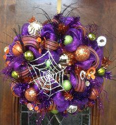 Green Glitter Spider Halloween Wreath by HertasWreaths on Etsy, $85.00