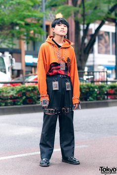 Tokyo high school student Makoto on the street in Harajuku wearing a remake style with Yu-Gi-Oh! Cards as accessories, a remake cropped painted hoodie, cutout pants, and Dr. Full Look Japan Street Fashion, Tokyo Fashion, Harajuku Fashion, Fashion Fashion, Fashion Outfits, India Fashion, Fashion Quotes, Fashion Black, Petite Fashion