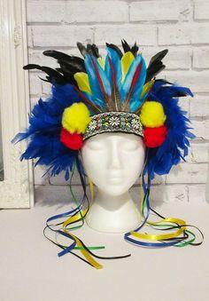 PARROT BIRD Fancy Dress Headdress Feather Hairband Costume MULTI-COLOUR Bespoke