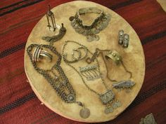 A collection of Palestinian silver jewelry donated by Elizabeth Moley to Turathuna center.