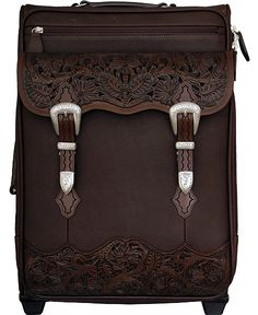 Smooth Leather with Floral Tooling Wheeled Luggage