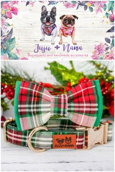 Christmas Dog, Christmas Gifts, Plaid Dog Collars, Bow Tie Collar, Dog Bowtie, Dog Harness, Handmade Accessories, Bows, Xmas Gifts