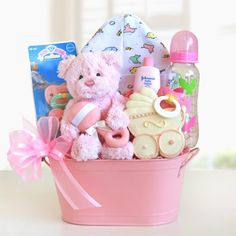 Cuddly Welcome for a Girl Baby Gift Basket