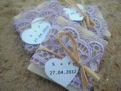 eco green wedding favors | 120 Wedding Favors/ all natural Soaps Wrapped in Lace/ Eco ... | wedd ...