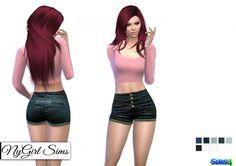 High Rise Cheeky Denim Short at NyGirl Sims • Sims 4 Updates