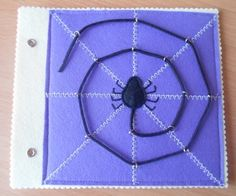 Spider web weaving. Quiet book. What a lovely idea for fine motor control!